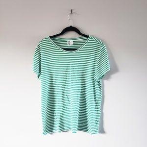 💥2 for $20💥H&M Women's Green&White Striped Shirt